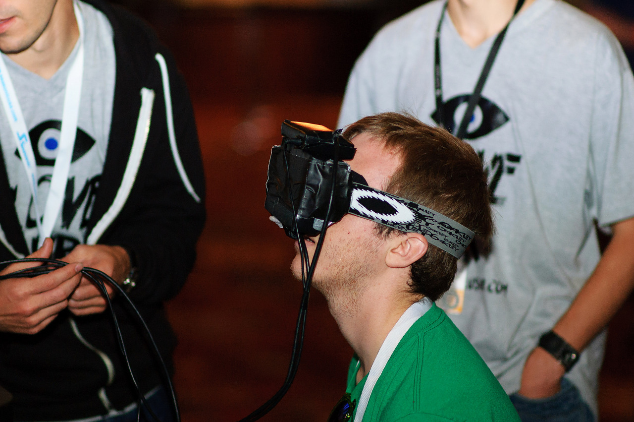 Oculus Rift current prototype with headband at Quakecon 2012