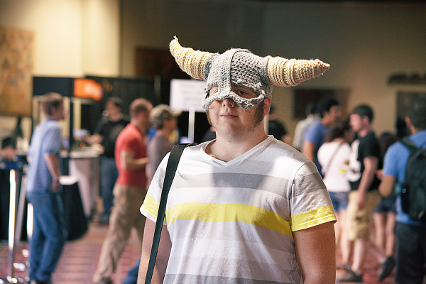 Gamer guy with a Dragonborn hat at Quakecon 2013