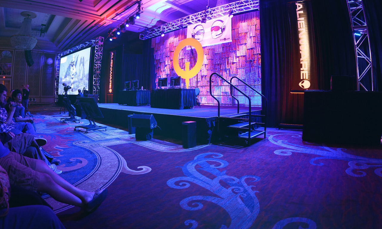 Main stage panorama of the ballroom at Quakecon 2013
