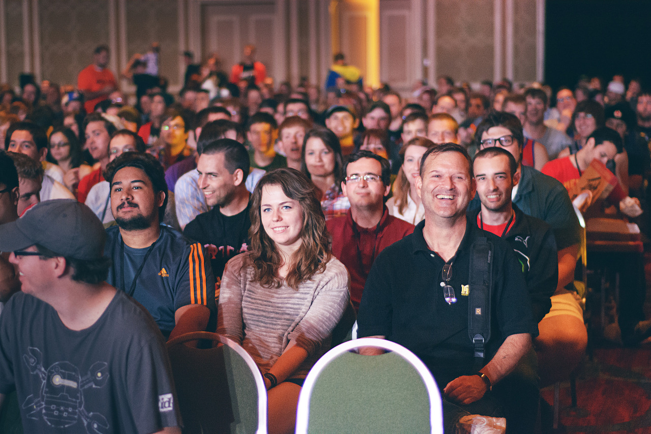 Audience laughing at Master Pancake comedy troup at Quakecon 2013
