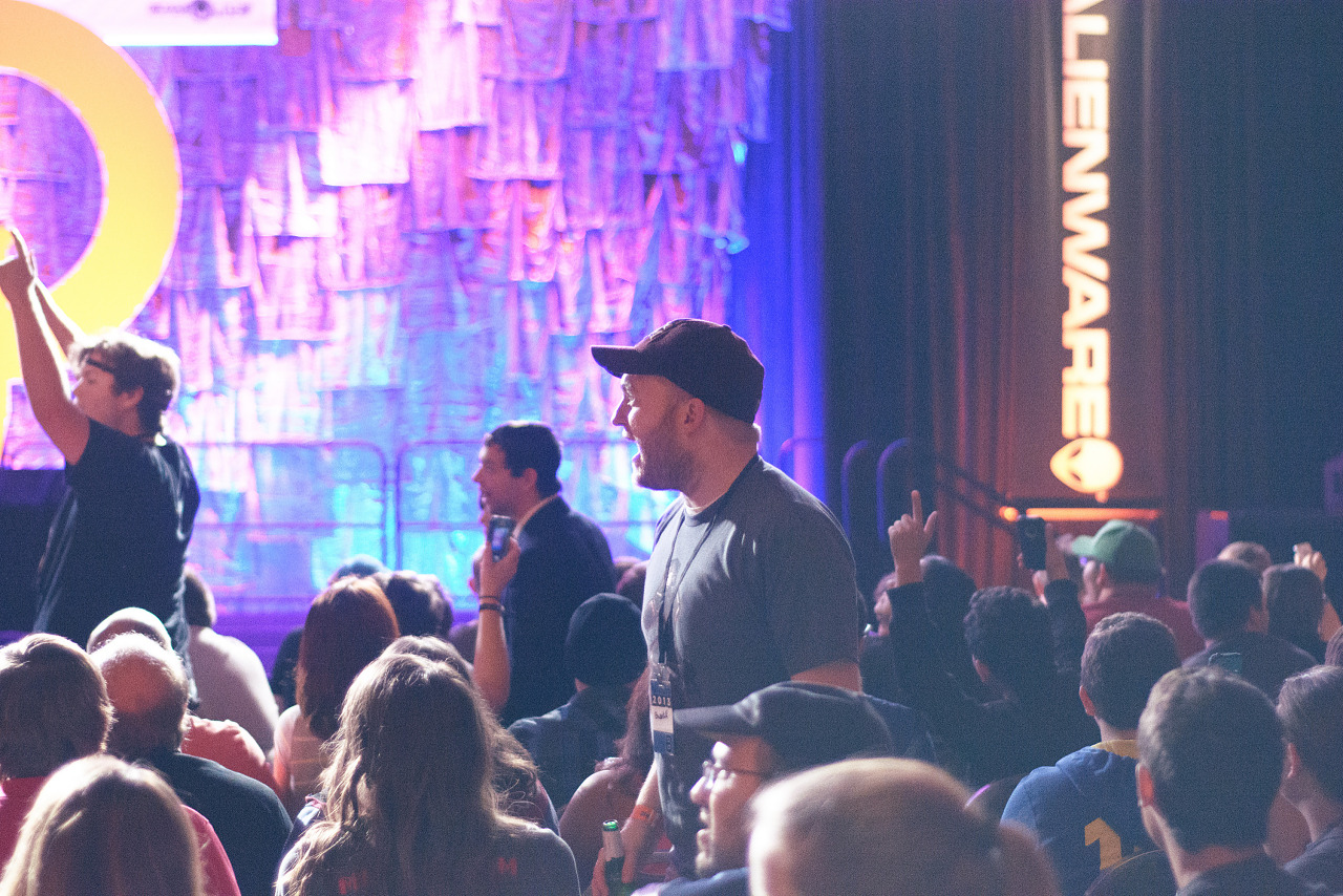 Spectator standing during Master Pancake Comedy troup act Quakecon 2013