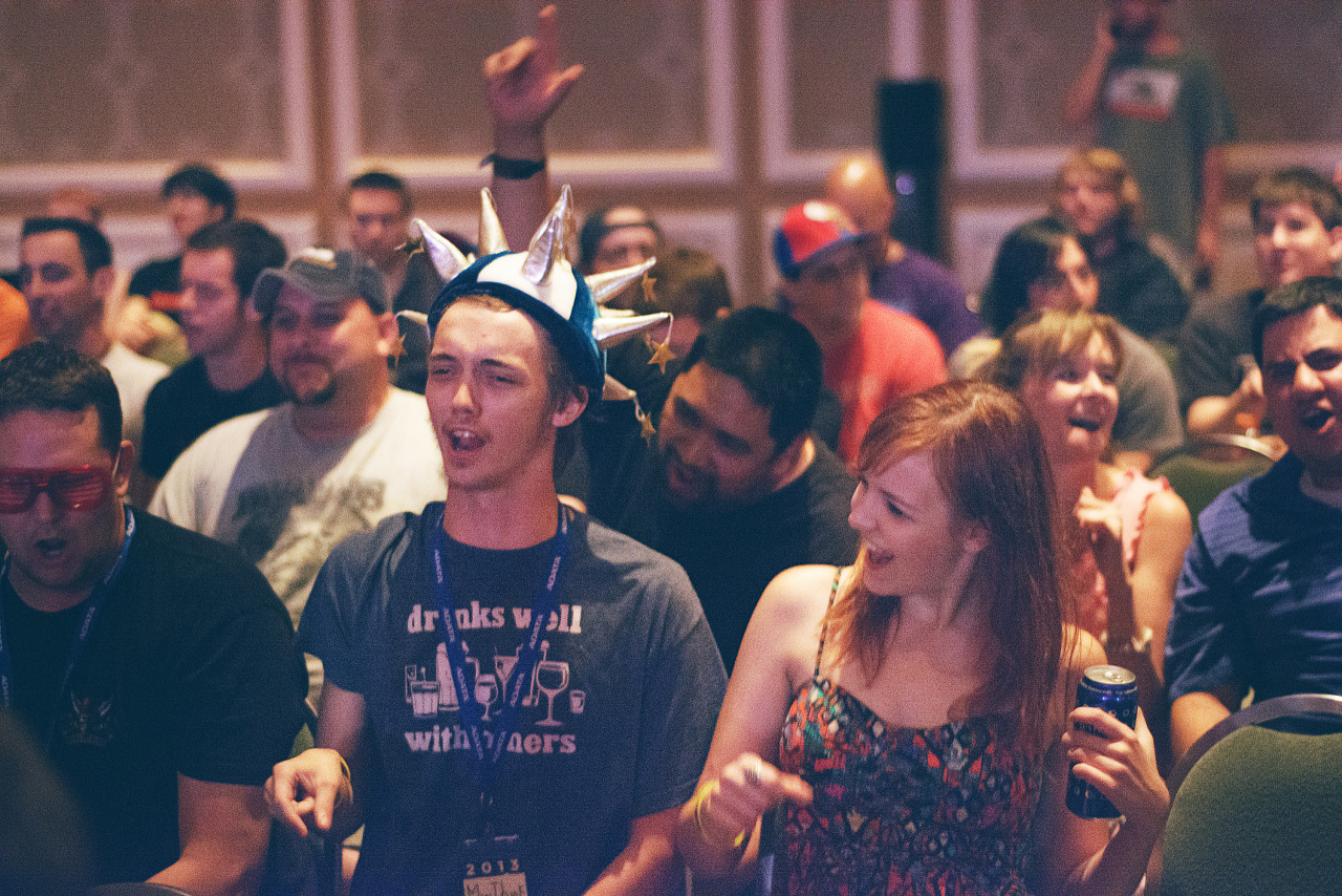 Master pancake Audience with spike hat at Quakecon 2013