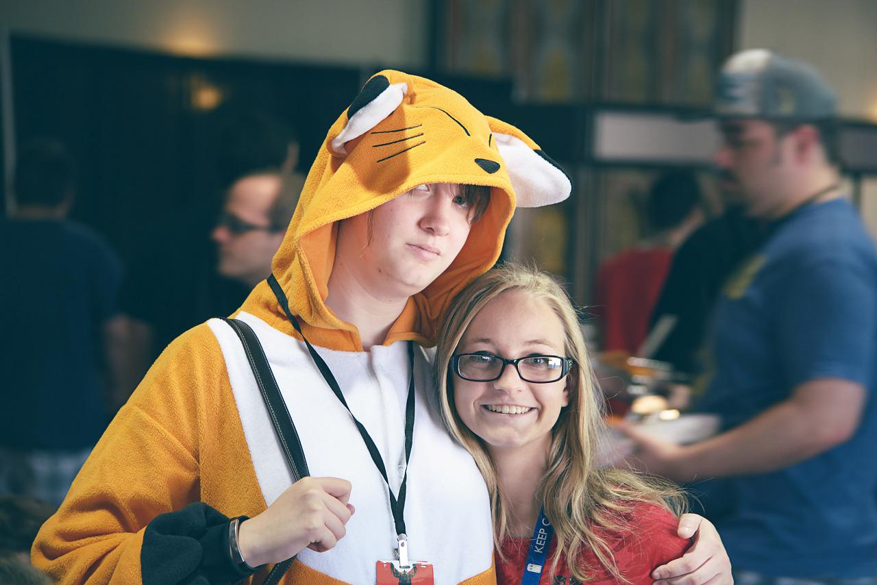 Yellow fox Kigurumi Japanese Pajama couple at Quakecon 2013