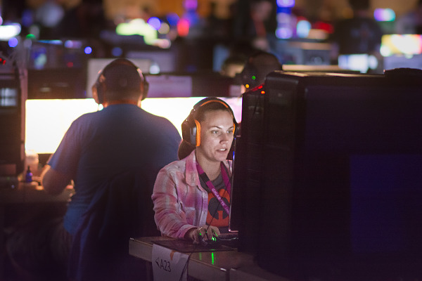 Focused on the game - gamer at Quakecon BYOC