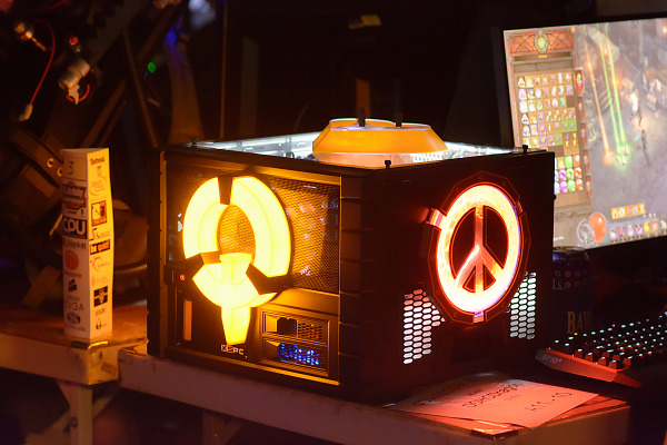 Yellow glowing PC mod on the BYOC at Quakecon