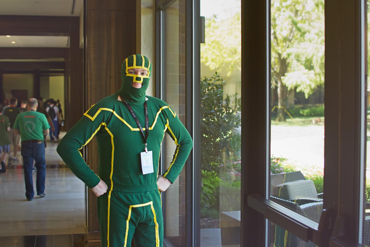 Kick Ass costume on the lobby of the Hilton Anatole