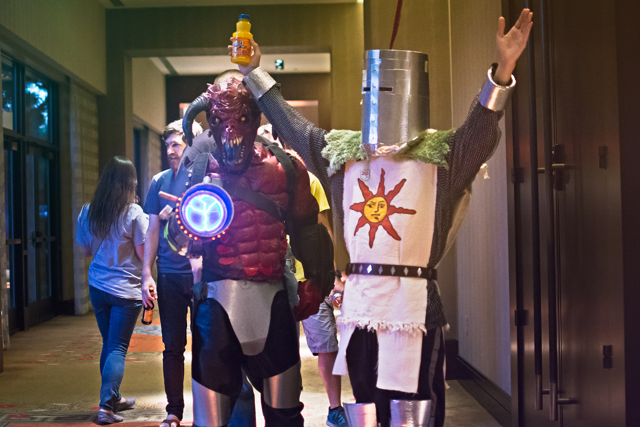 Solaire of Astora Baron of Hell cosplay in the Hilton Lobby at Quakecon