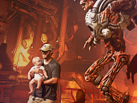 quakecon-dallas-2015 > Baby looking at real life statue of Doom revenant on the Quakecon showfloor