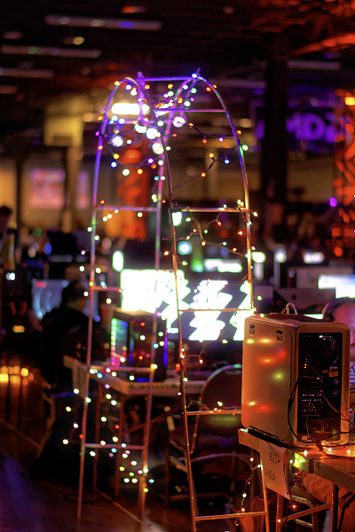 Arched colored lights at the Quakecon BYOC