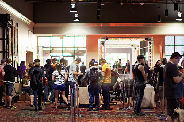 Bag check at the entrance of the showfloor BYOC area of Quakecon