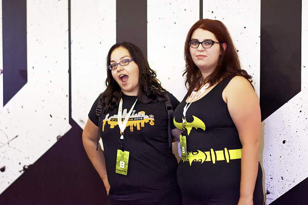Batman dress in front of the Doom logo