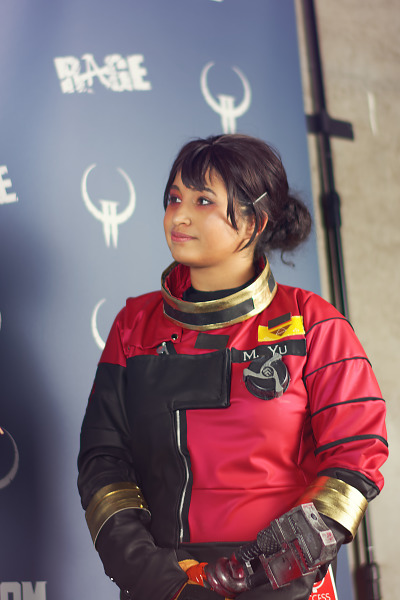 Winner of the cosplay competition Morgan Yu from Prey at Quakecon 2017
