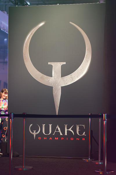 Giant poster for Quake Champions on Bethesda Booth at Quakecon 2017