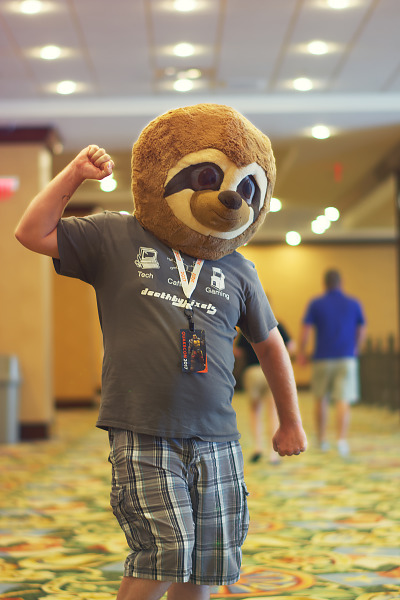 Sloth head costume at Quakecon 2017