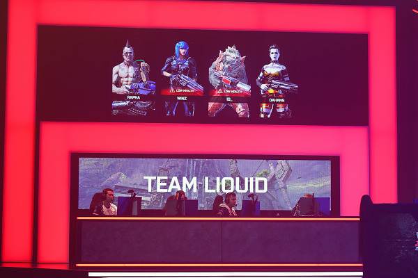 Team liquid are duelling during the Quake World Championship finals at Quakecon 2017