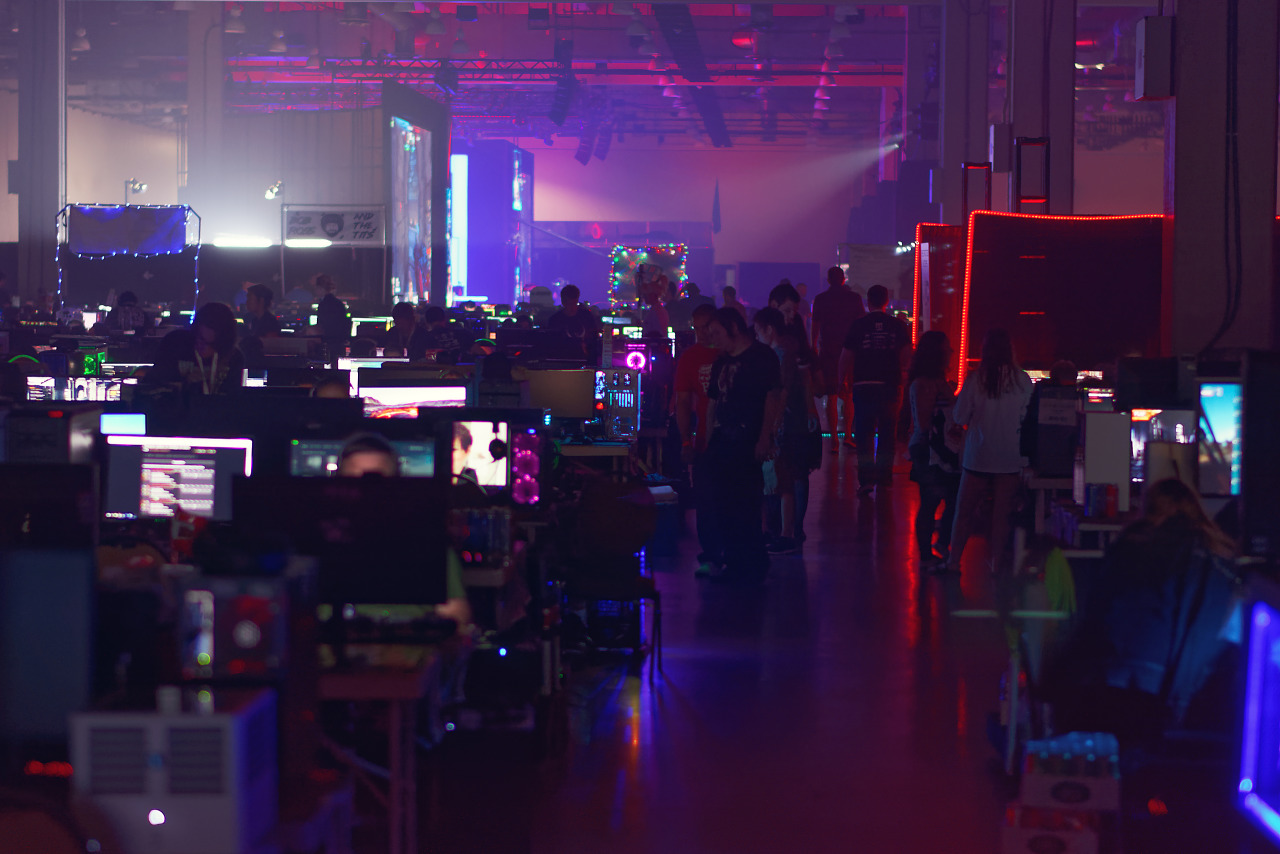 Computer lit alley of the BYOC area of Quakecon 2017