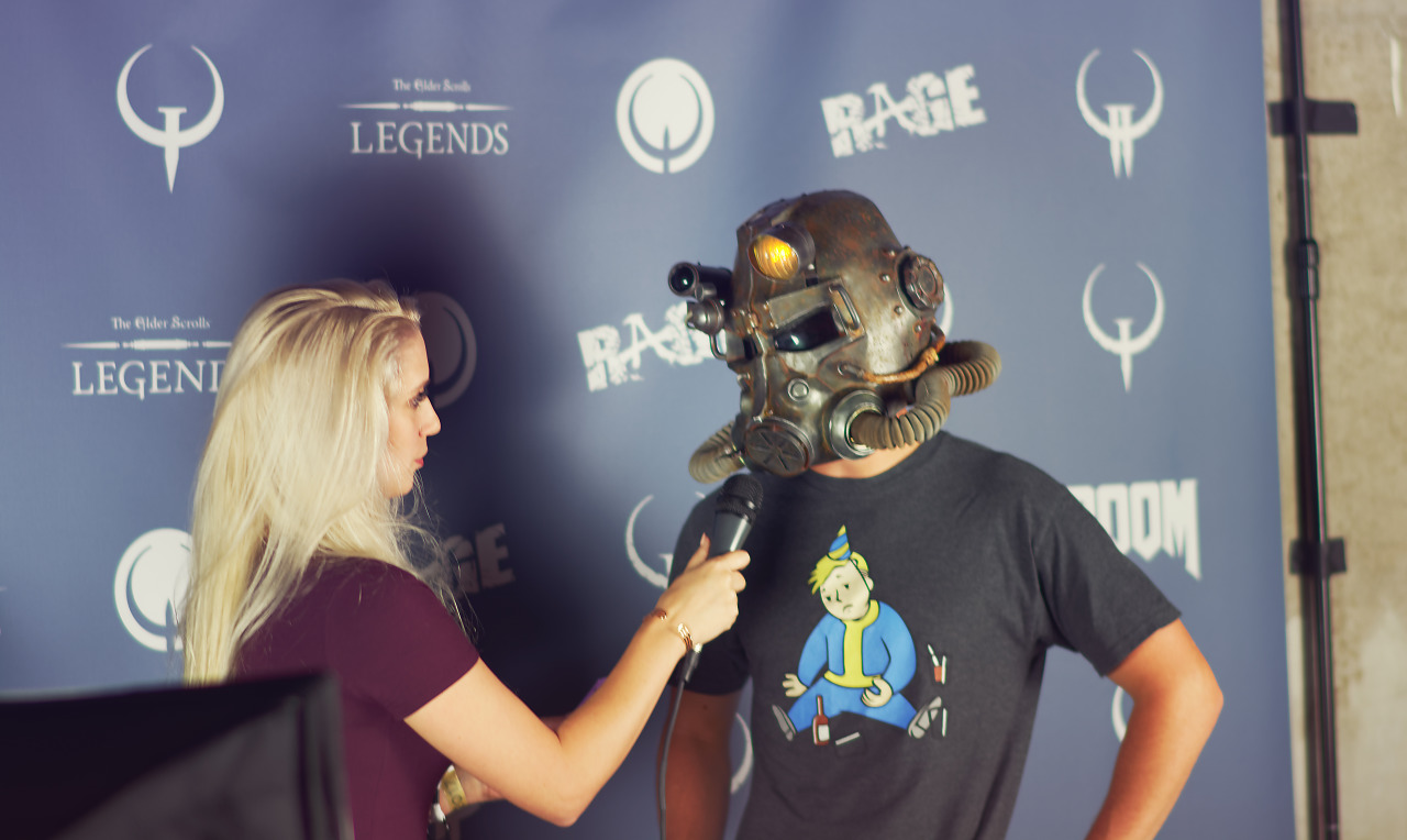 Fallout guy being interviewed at Cosplay competition event at Quakecon 2017