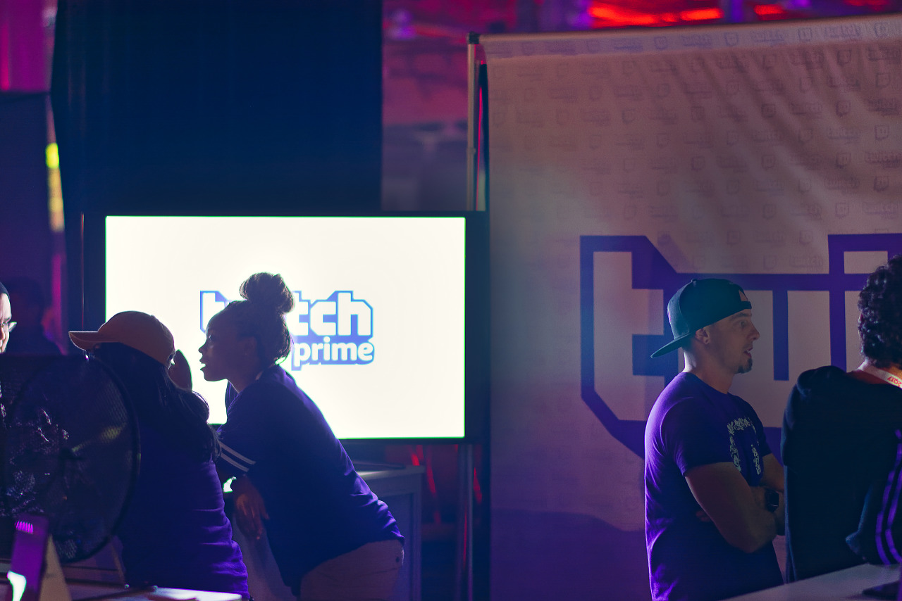 Twitch Prime booth silhouettes on the showfloor at Quakecon 2017