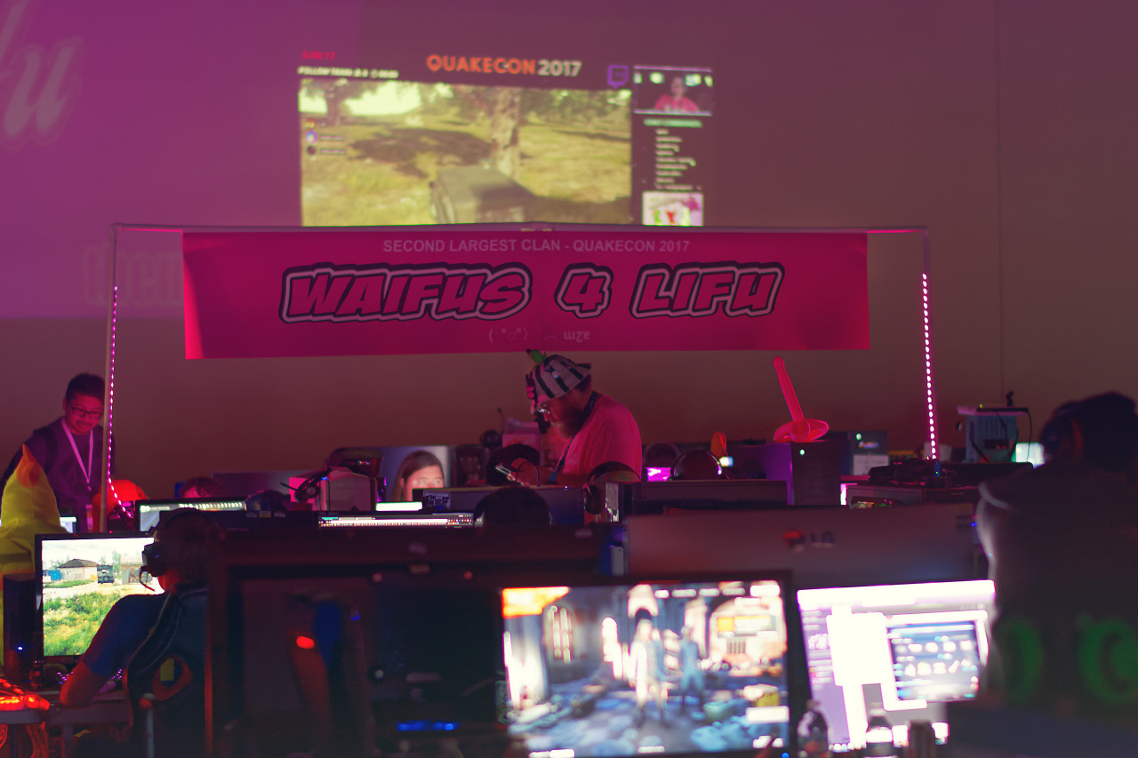 Waifus 4 lifu banner at the BYOC in Quakecon 2017