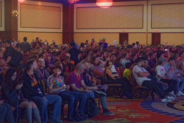 Group shot of the audience at Doom Eternal reveal Keynote at Quakecon 2018