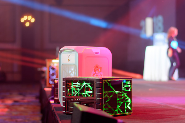 Row of modded computer cases for case modding competition of Quakecon 2018