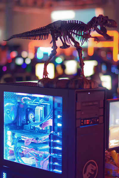 Dinosaur themed computer case mod at BYOC of Quakecon 2018