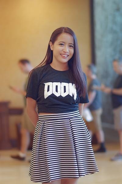 Attendee with Doom T-Shirt and striped skirt at Quakecon 2018