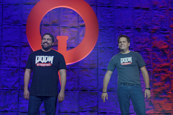 Hugo Martin Marty Stratton on main stage of Doom Eternal Reveal at Quakecon 2018