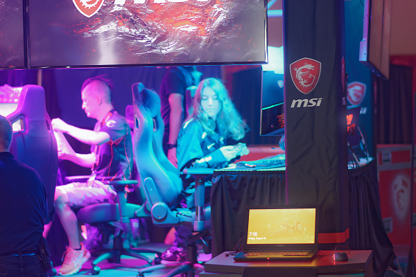 MSI Booth gamer chairs on showfloor at Quakecon 2018