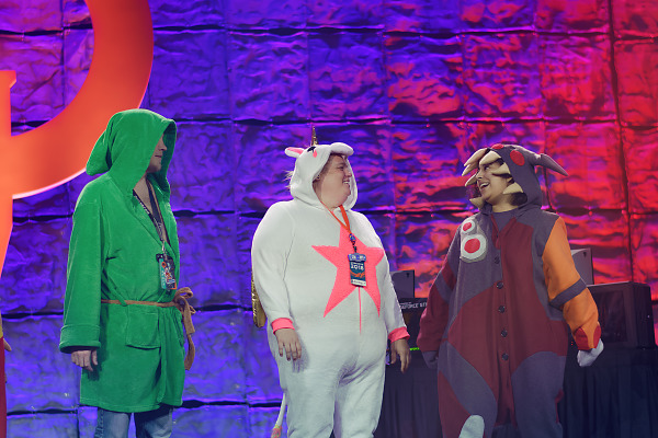 Pajama party and contest on the Main stage of Quakecon 2018