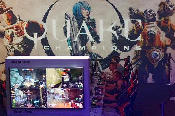 Quake Champions demo booth in 5 vs 5 on the showfloor at Quakecon 2018