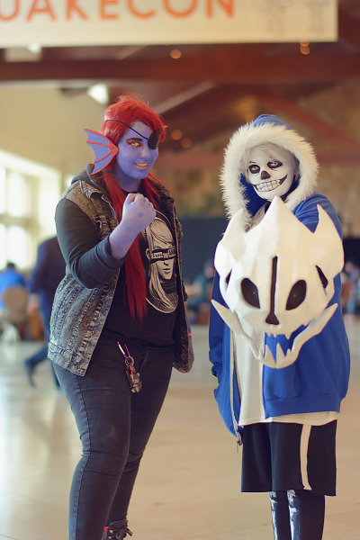 Two cosplayers of the Undertale video game characters at Quakecon 2018