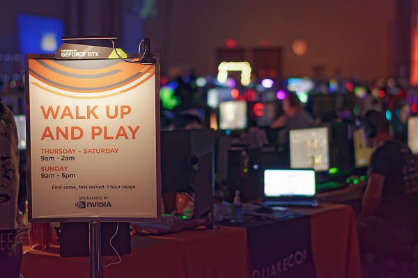 Walk up and play NVIDIA rent a PC to play free at the BYOC Quakecon 2018