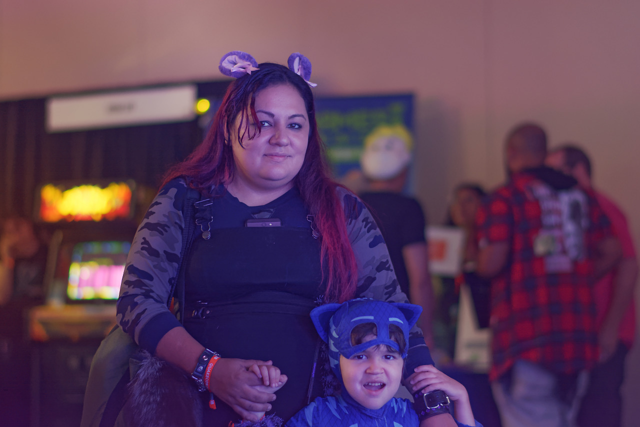 Family attending Quakecon 2018 in Catboy costume from PJ Masks