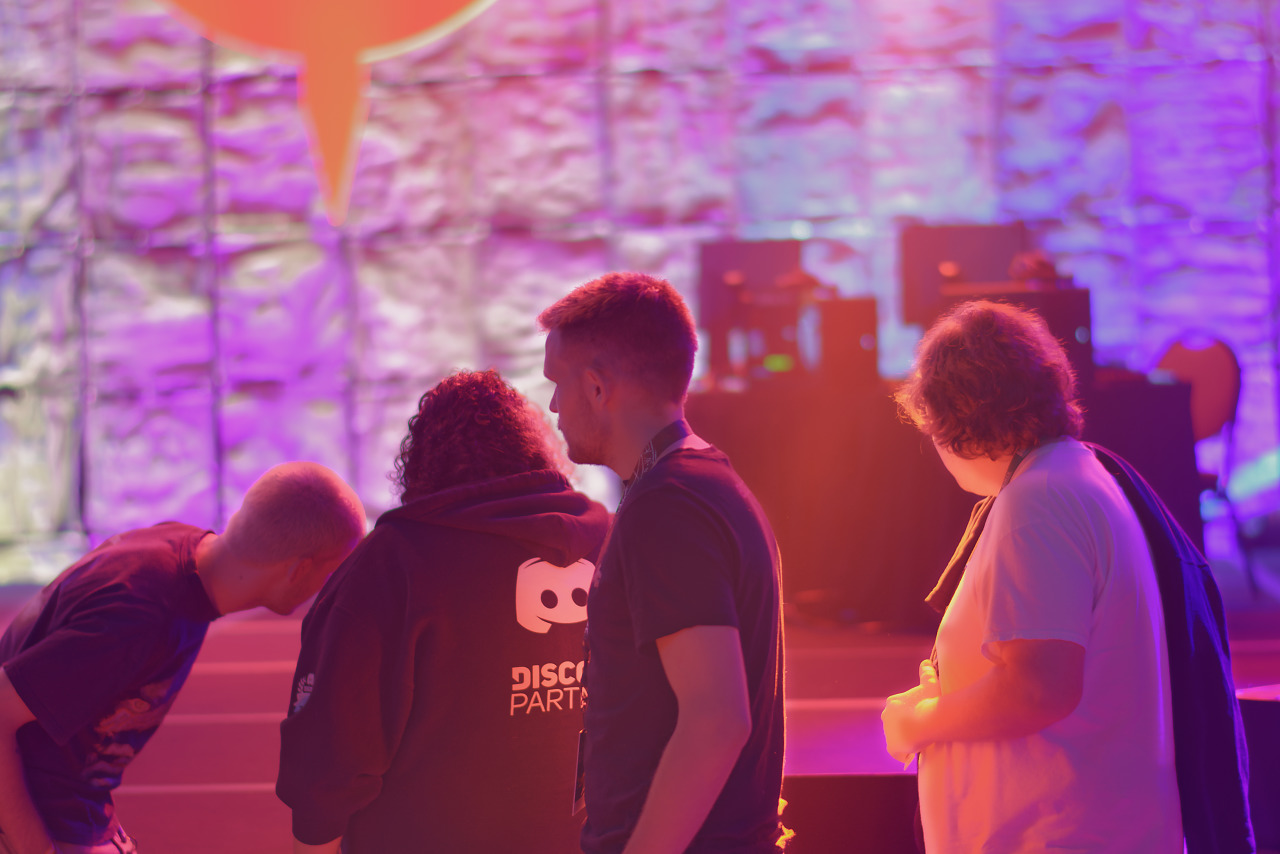 Silhouettes of attendees at Community Block Party at Quakecon 2018