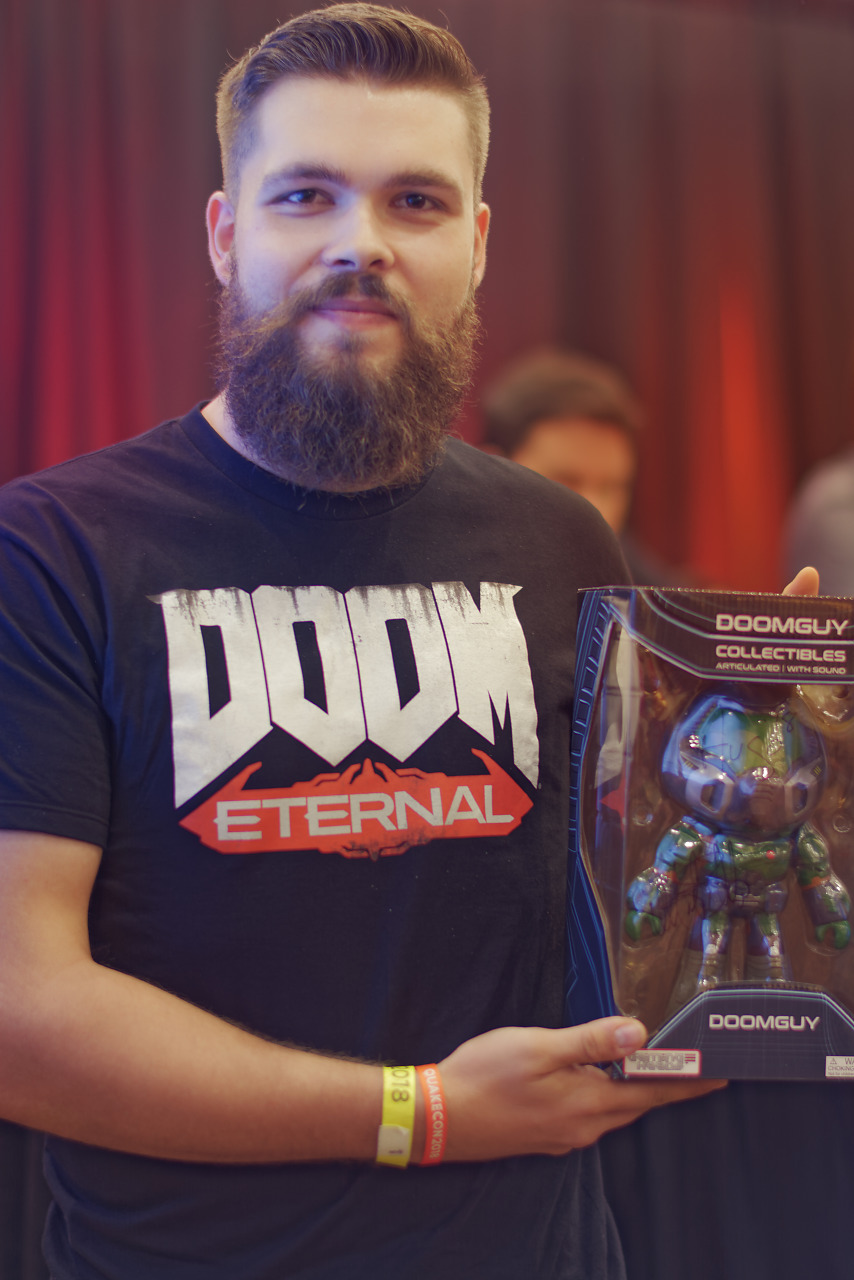 Doom Guy collectible giveaway winner at Quakecon 2018