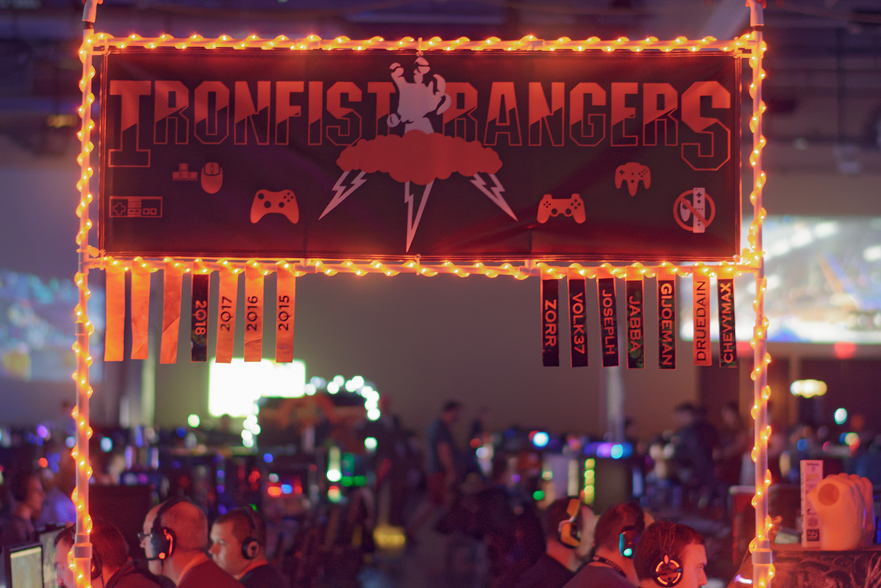 Ironfist Rangers clan banner at BYOC of Quakecon 2018