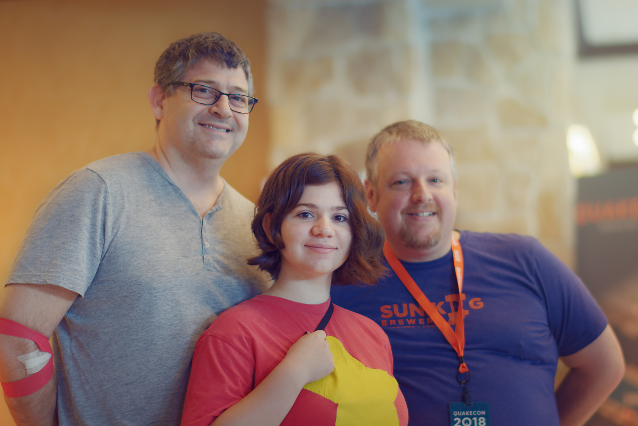 Family visiting Quakecon 2018 with Steven Universe shirt