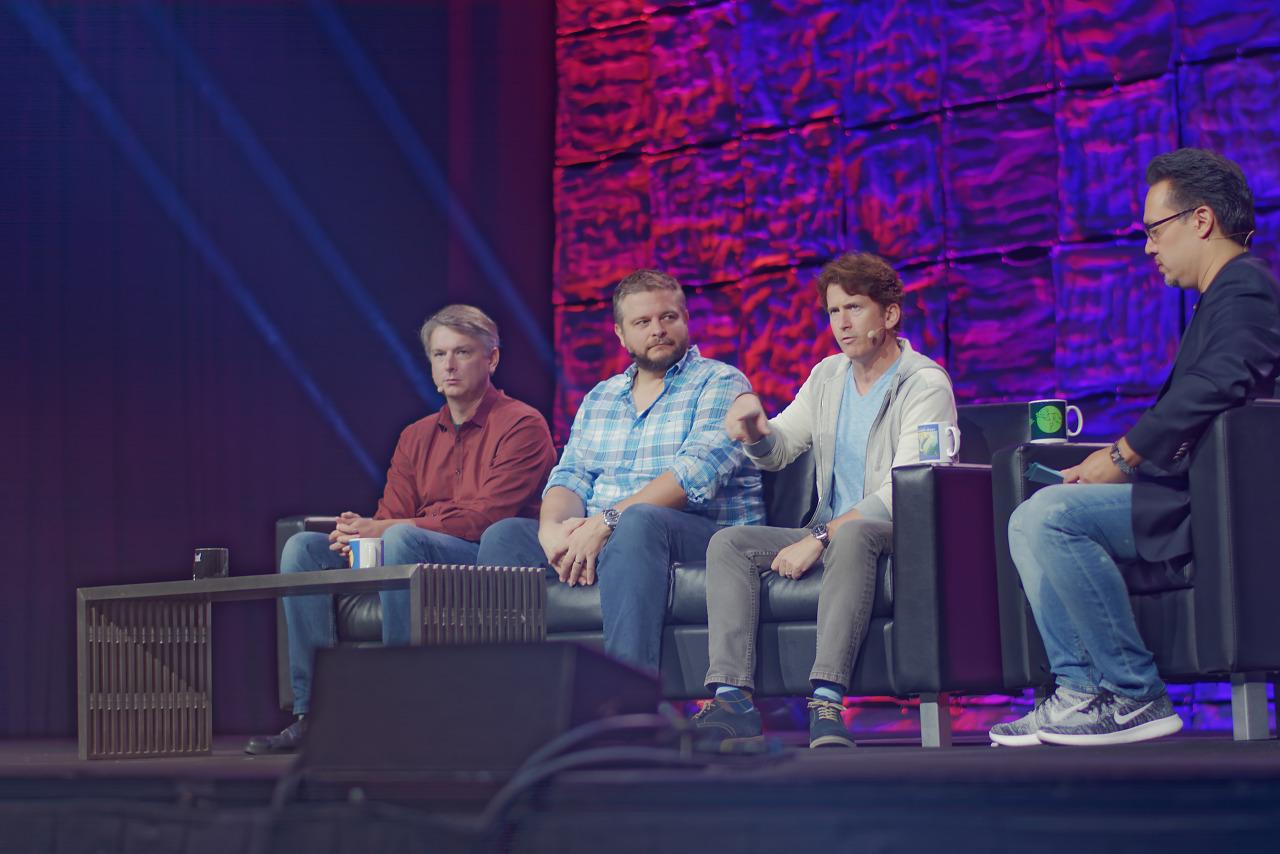 Todd Howard Chris Mayer Jeff Gardiner at Fallout 76 keynote at Quakecon 2018
