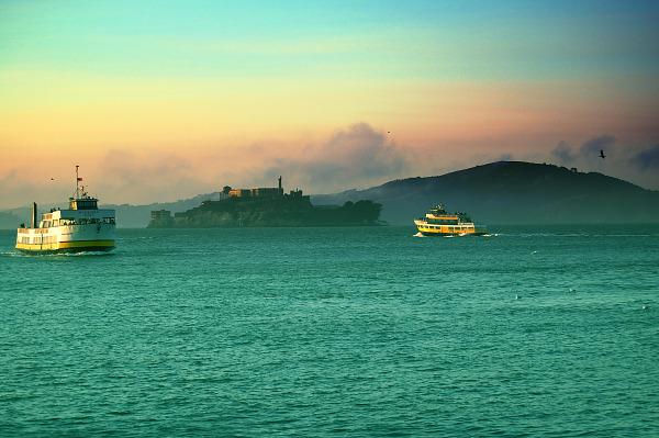 Alcatraz in the fog at sunset