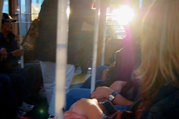 Blinding sunset in the SF street car