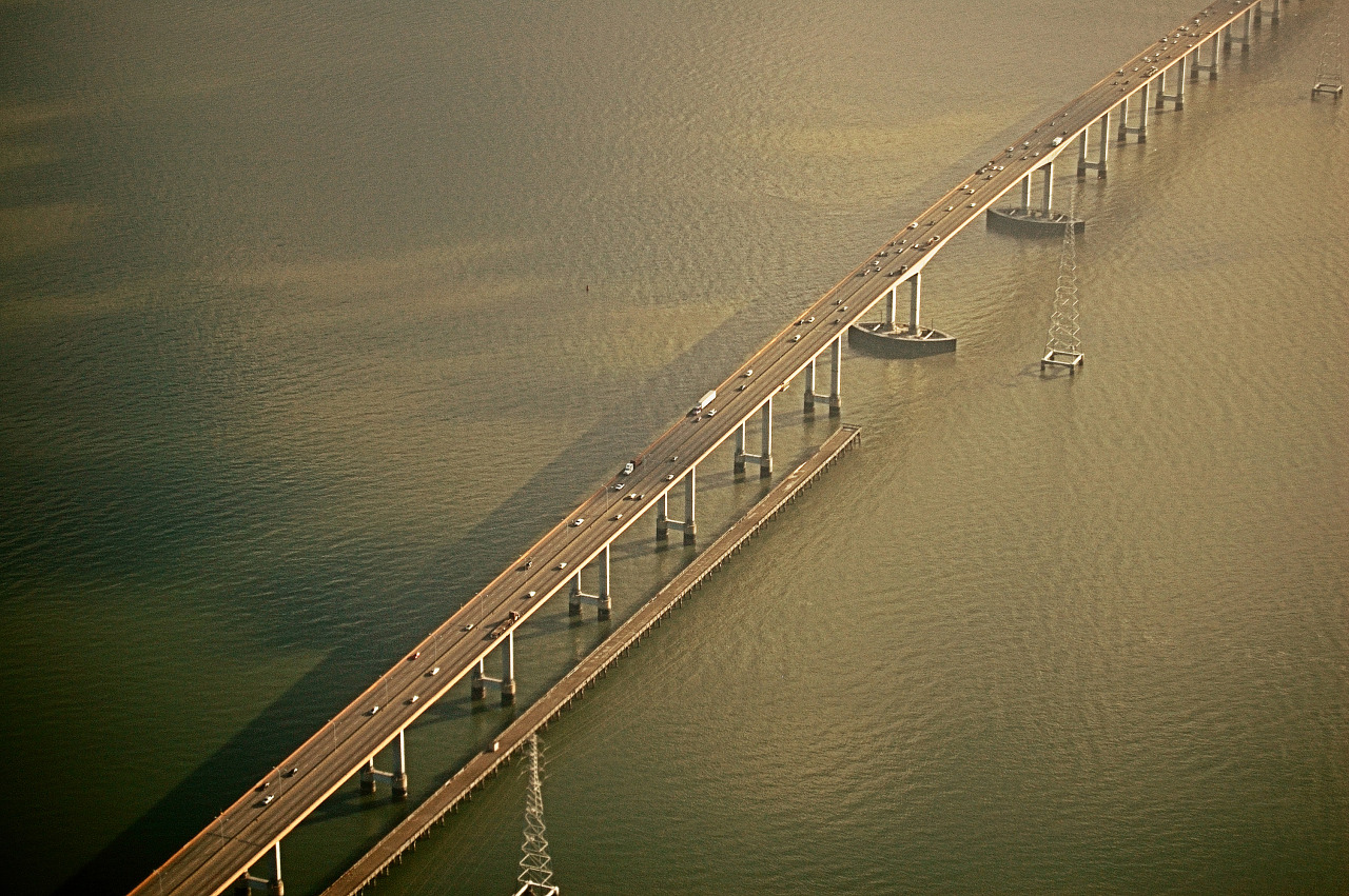 Aerial View of the San Mateo bridge over the Bay of San Francisco