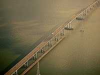 san-francisco > Aerial View of the San Mateo bridge over the Bay of San Francisco
