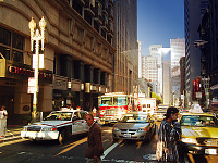 san-francisco > Busy street of SF, sunset lighting