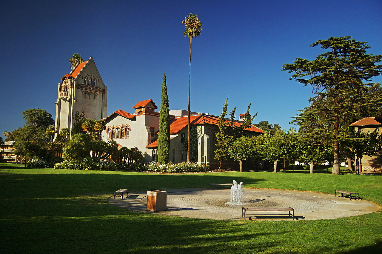Tower Hall, Auditorium and Fountain on San Jose State Campus